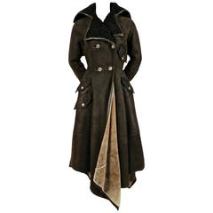 1993 GIANNI VERSACE olive shearling coat with Astrakhan trim