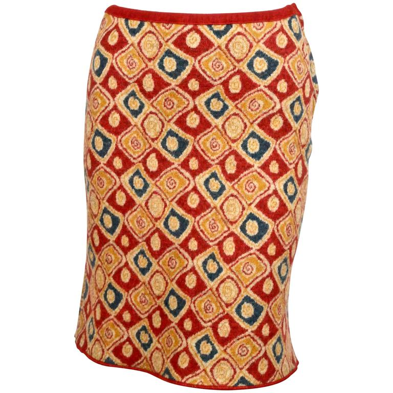 1990's AZZEDINE ALAIA red abstract patterned skirt