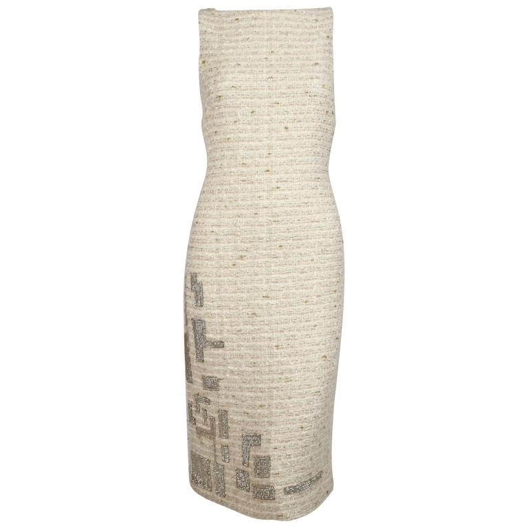 GENNY cream boucle sheath dress with chainmail detail For Sale