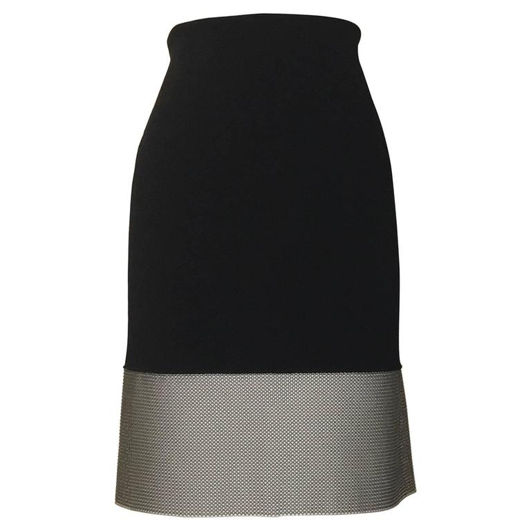 New Paco Rabanne Black Knit Bodycon Pencil Skirt with Silver Mesh Chainmail Trim