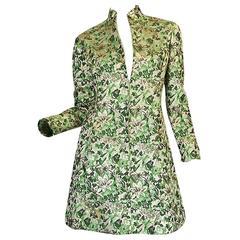 1960s Ceil Chapman Green Metallic Silk Brocade Mini Dress