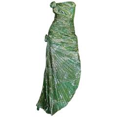Incredible 1980s Green & Gold Silk Metallic Ungaro Dress