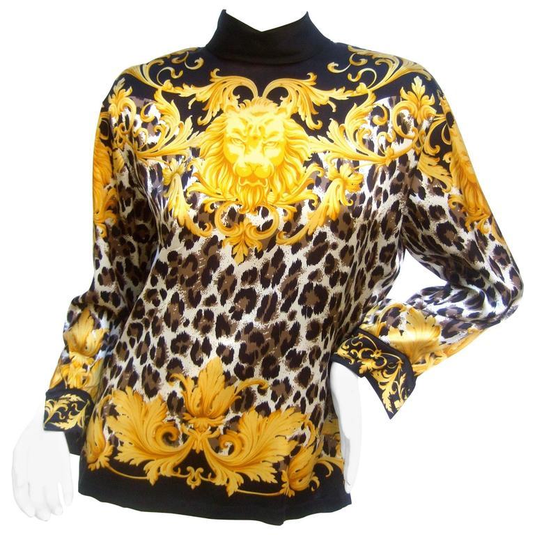 Escada Luxurious Silk Charmeuse Jungle Print Tunic c 1990