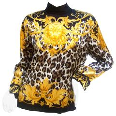 Escada Luxurious Silk Charmeuse Jungle Print Tunic c 1990