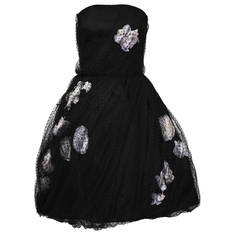 1960's Haute Couture Scherrer Strapless Black and White Tulle Dress