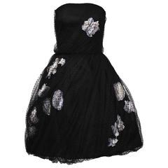1960's Haute Couture Scherrer Strapless Black and White Tulle Dress