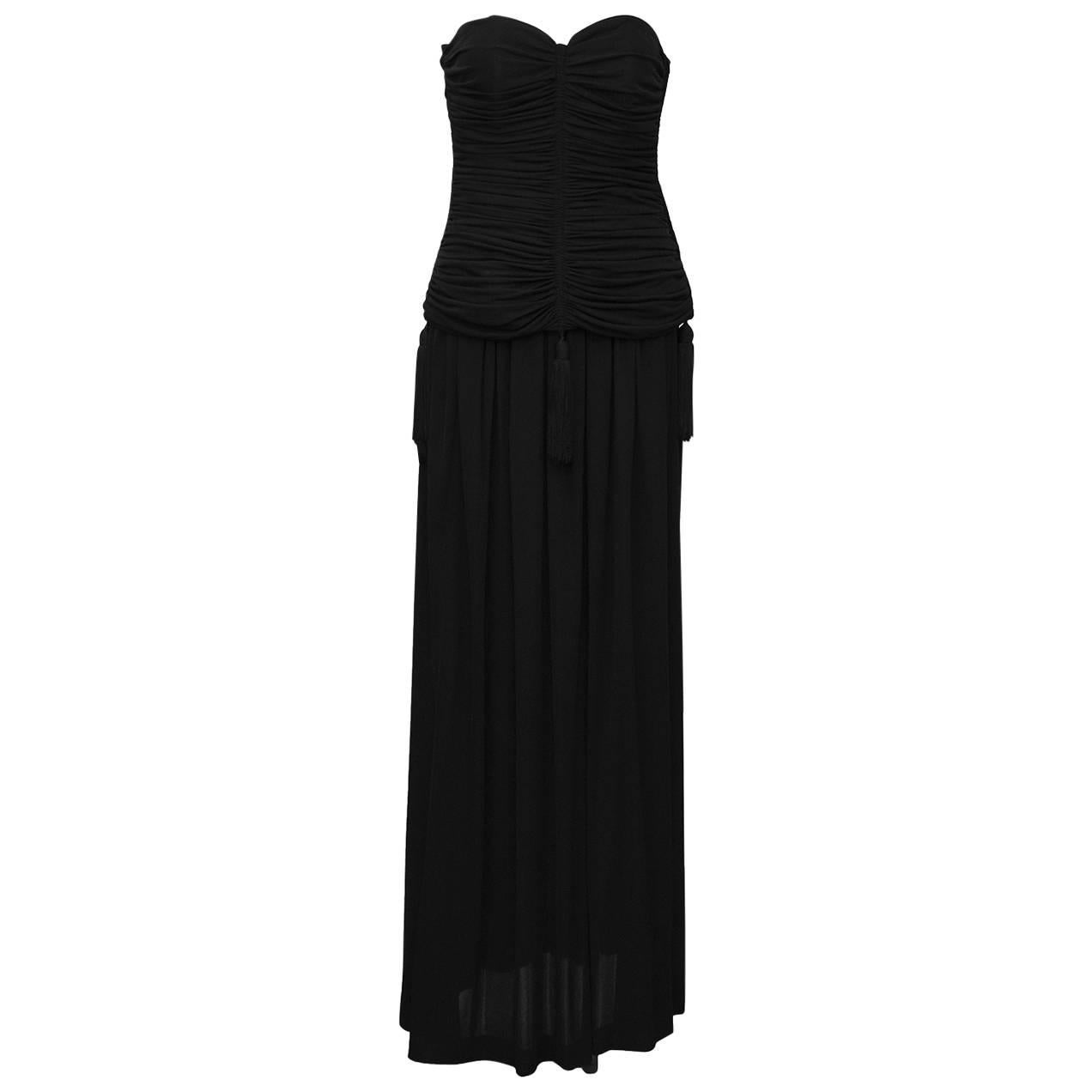 1980's Yves Saint Laurent YSL Black Jersey 2 PC Gown With Tassels