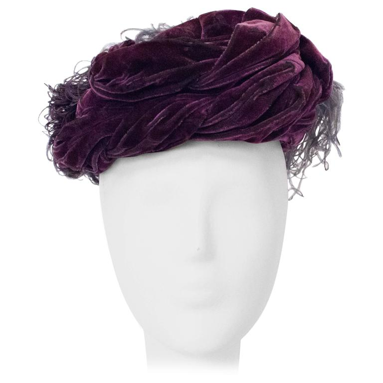 40s Purple Silk Velvet Turban