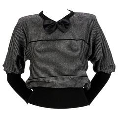 1970's SONIA RYKIEL black and silver lurex striped sweater with satin bowtie