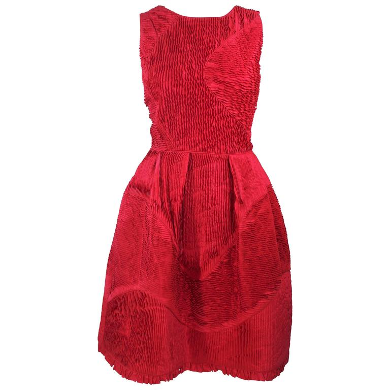 OSCAR DE LA RENTA Red Gathered Pintuck Cocktail Dress Size 10