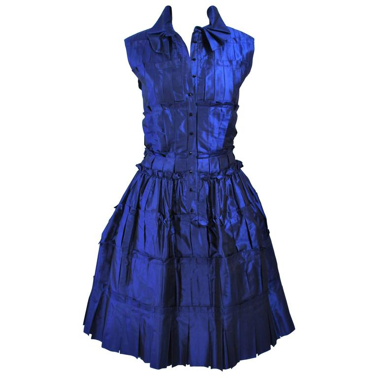 OSCAR DE LA RENTA Blue Silk Cocktail Dress Size 10