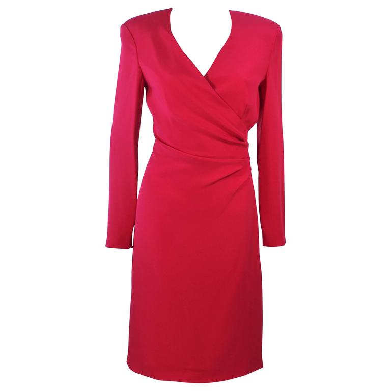 ARMANI Magenta Drape Silk Cocktail Dress Size 8 10