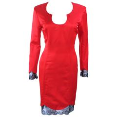 TED HEYMAN Red Silk Cocktail Dress with Lace Trim Size 8