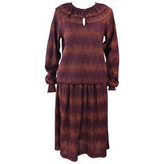 MISSONI Bronze and Purple Metallic Knit Skirt Set Size 8