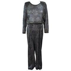 MISSONI Black and Gold Floral Metallic Knit Pant Set Size Size Medium Large 46