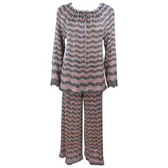 MISSONI Gold and Black Zig Zag Pattern Metallic Knit Size 46