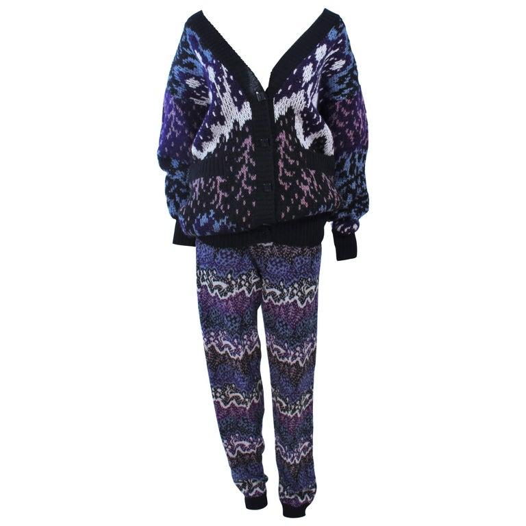 MISSONI Knit Navy Cardigan Pants & Skirt Ensemble Size Large For Sale