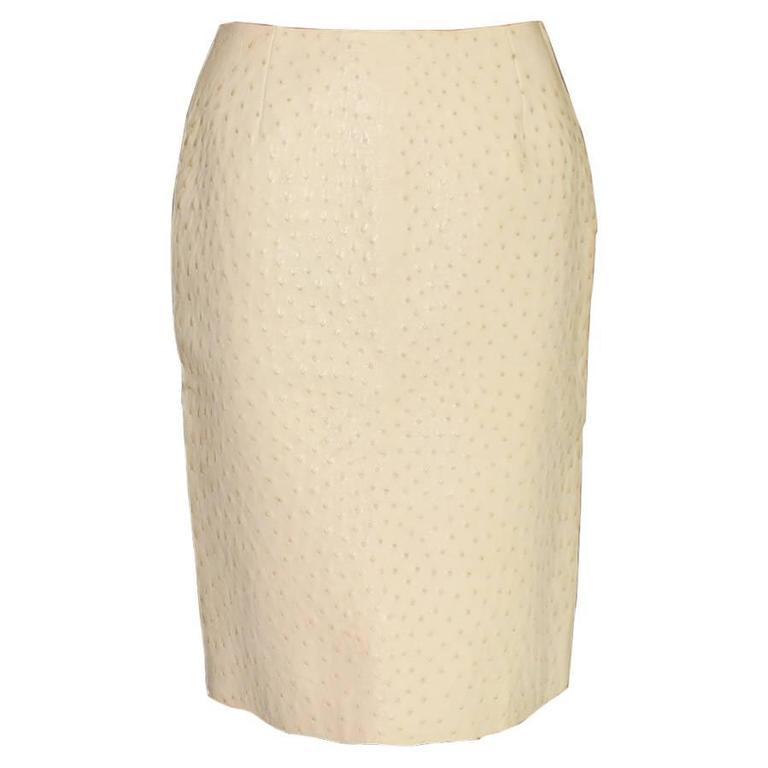 Prada Ivory Exotic Ostrich Skin Skirt