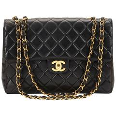 Chanel Black Quilted Lambskin Vintage Jumbo XL Flap Bag, 1990s