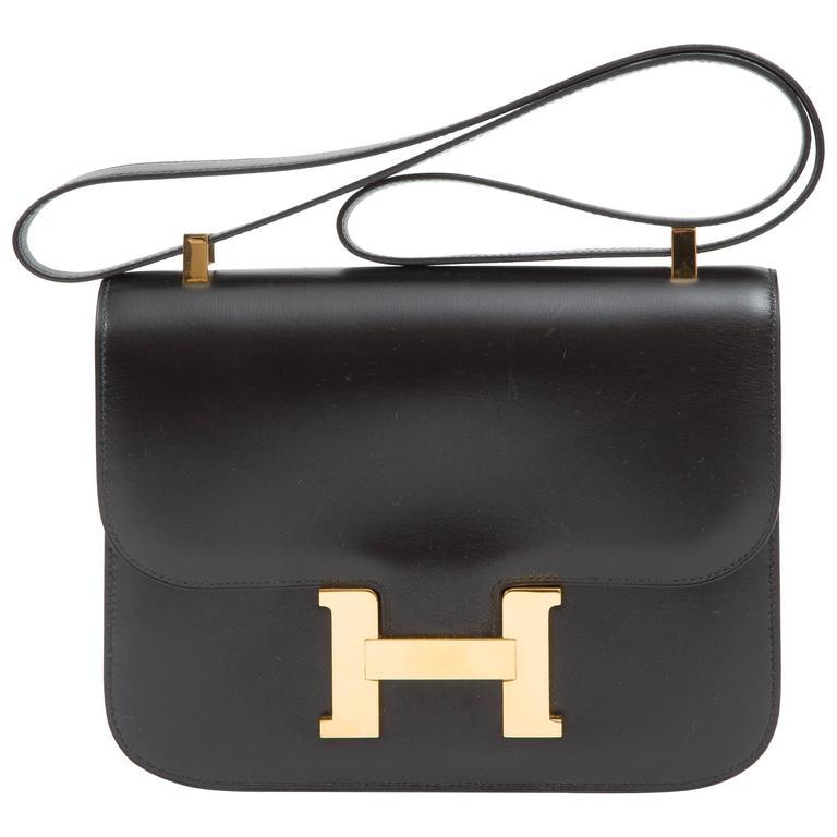 "Hermes Constance 23cm Black Box Calf ""Constance""Bag  1"