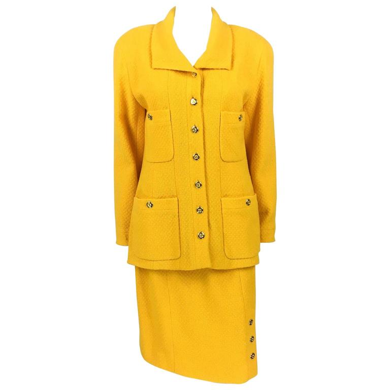 Chanel Yellow Boucle Wool Skirt Suit - Circa 1982 For Sale