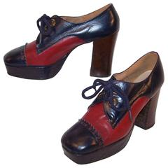 Glam Era 1970's Nina Spectator Style Leather Platform Shoes