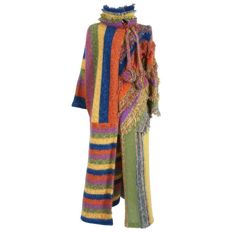 Multicoloured striped knitted winter coat, circa 1970s