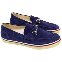 Gucci Navy Suede Loafers with Silver Buckle
