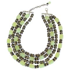 "Francoise Montague One of a Kind Green Vintage Glass and Crystal ""Lulu"" Necklace"