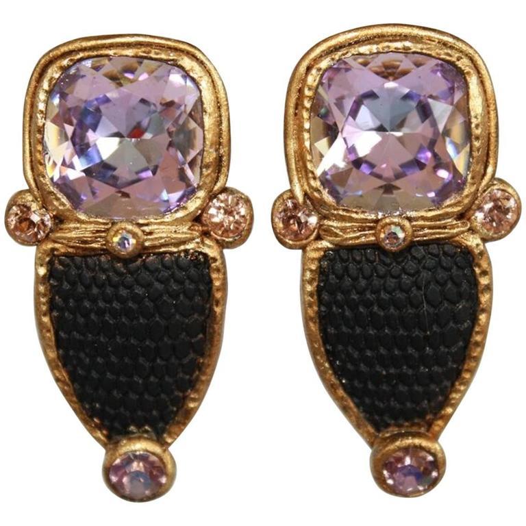 Ella K Black Vintage Gl And Swarovski Crystal Clip Earrings For