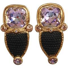 Ella K Black Vintage Glass and Swarovski Crystal Clip Earrings