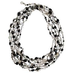 Goossens Paris Black Onyx and Palladium Necklace