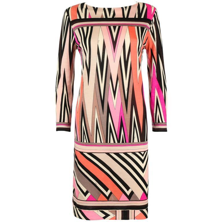 EMILIO PUCCI c.1960's Multicolor Zigzag Signature Print Drop Waist Shift Dress For Sale