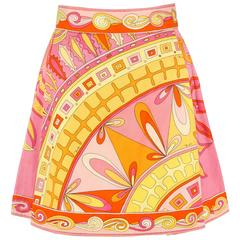 EMILIO PUCCI c.1960s Pink Orange Floral Signature Print Cotton A-Line Mini Skirt