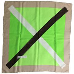 """Yves St Laurent X silk scarf in grey black and greens 36"""" x 36"""""""