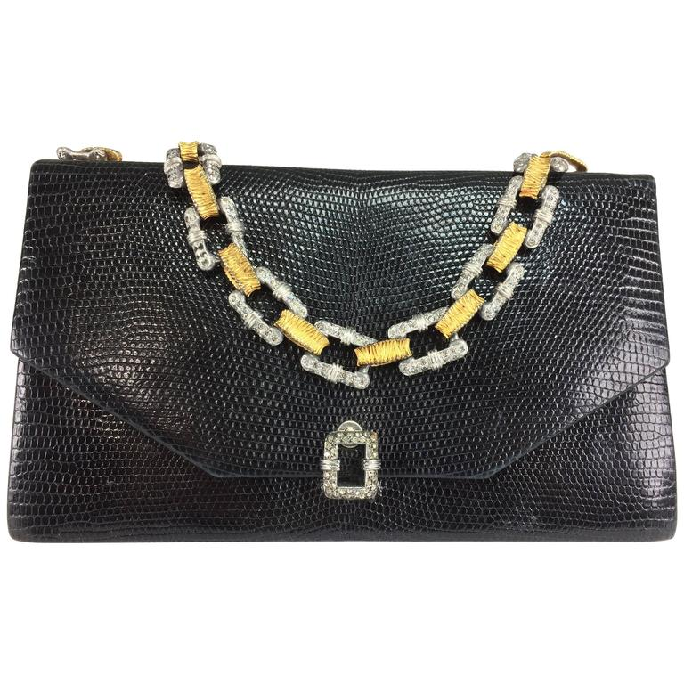 Jacomo Glazed Black Lizard Evening Bag With Silver Gold Chain Handle 1960s For