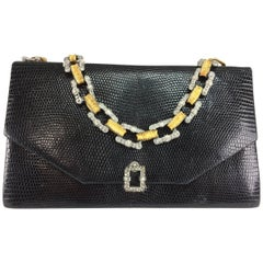 Jacomo glazed black lizard evening bag with silver & gold chain handle 1960s