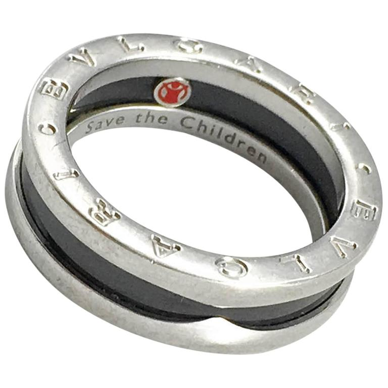 bulgari black ceramic and silver ring for sale at 1stdibs