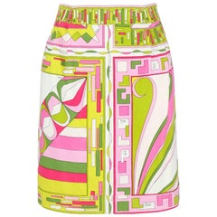 EMILIO PUCCI c.1960's Green Pink Geometric Signature Print Cotton Mini Skirt
