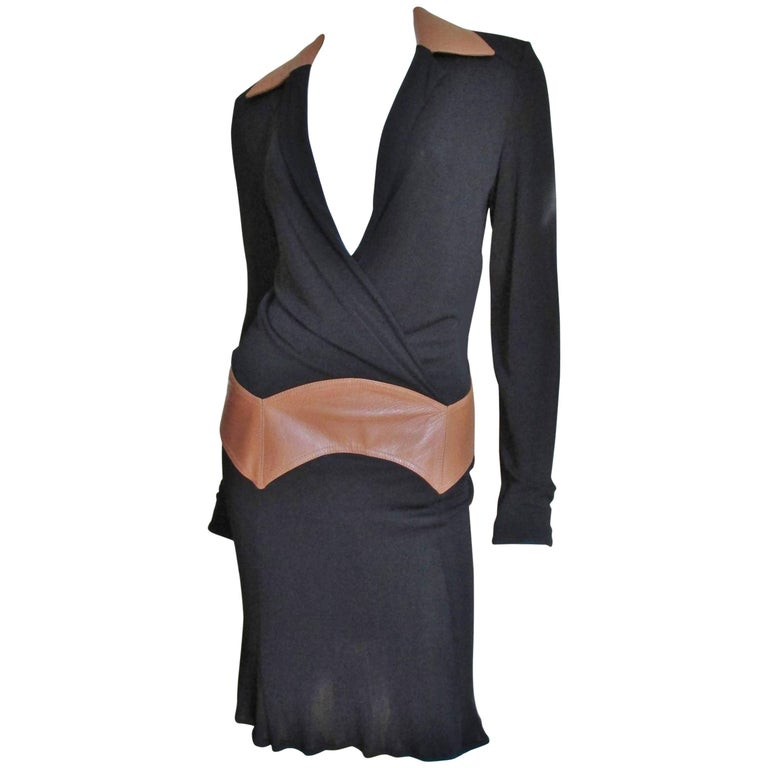 1990s Gianni Versace Vintage Plunge Wrap Dress