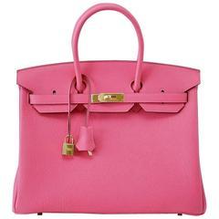 HERMES BIRKIN 35 Bag Rare Pink Rose Lipstick Togo  Gold Hardware