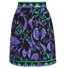 EMILIO PUCCI c.1980's Black Purple Butterfly Signature Print Wool A-Line Skirt