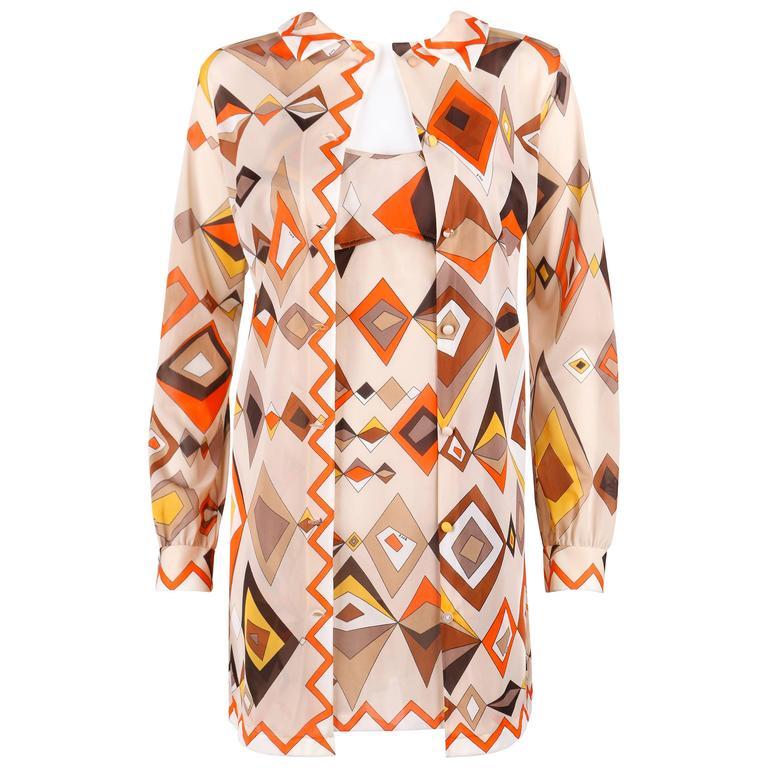 EMILIO PUCCI c.1960s Formfit Rogers 2pc Tan Geometric Print Tunic Dress Slip Set