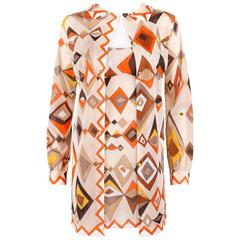 EMILIO PUCCI c.1960s Formfit Rogers 2pc Tan Geometric Print Tunic Dress Slip Set
