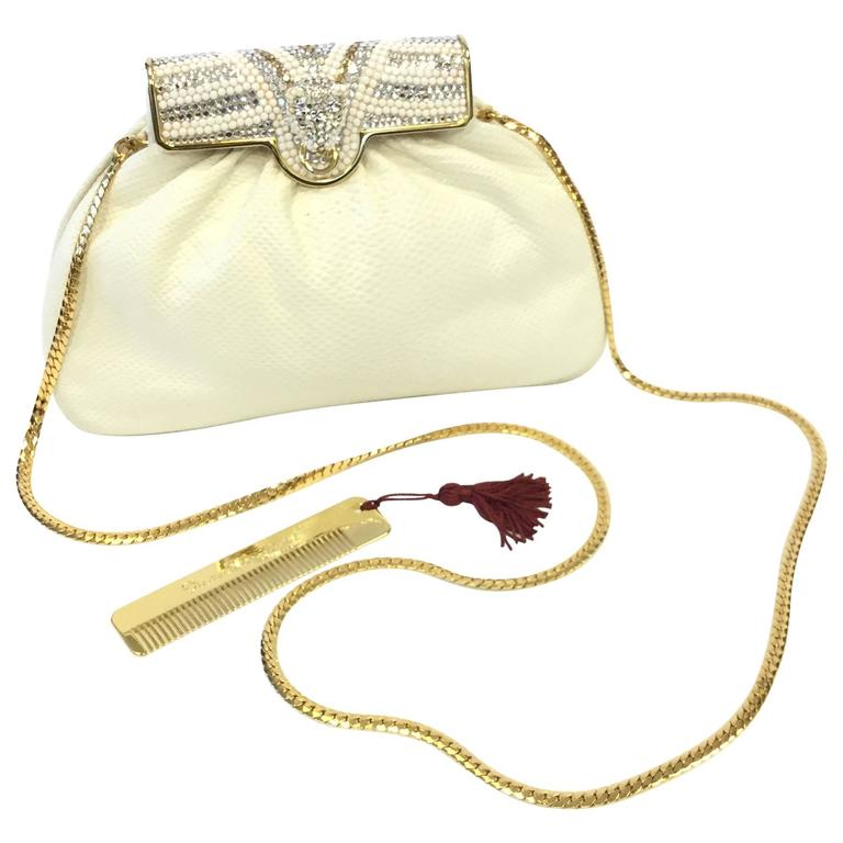 Finesse La Model White Snakeskin Rhinestone Puma Purse, 1980s