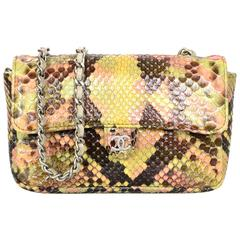 Chanel Pink and Brown Snakeskin Mini Crossbody Flap Bag