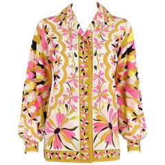 EMILIO PUCCI c.1970's Pink Kaleidoscope Daisy Print 100% Silk Blouse Shirt Top
