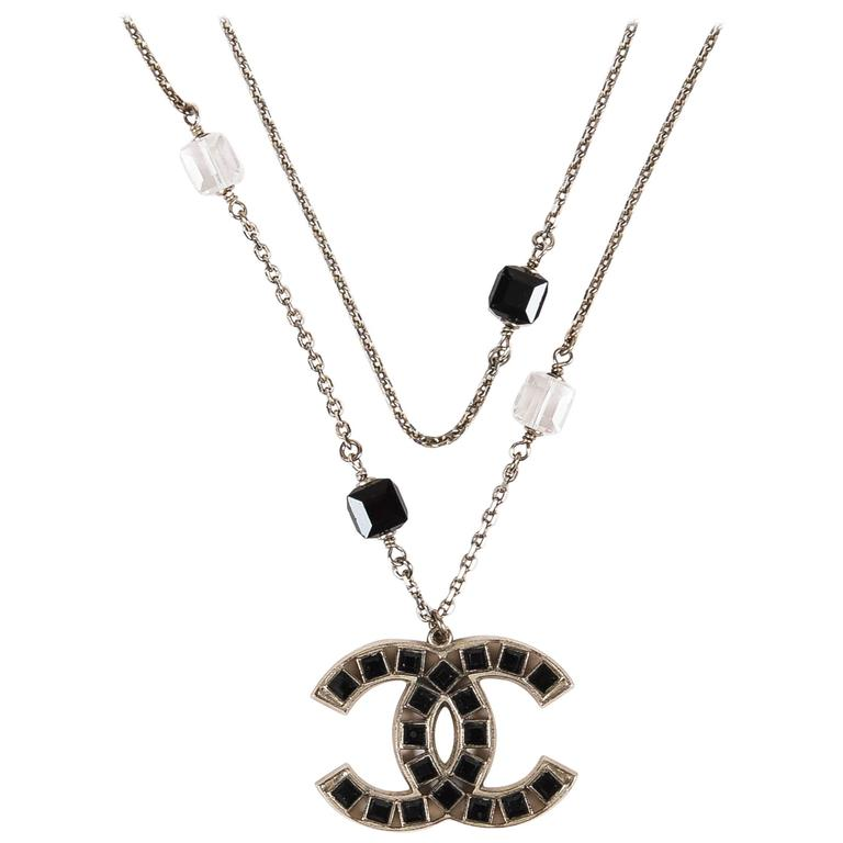 Chanel 08P Silver Tone Black Swarovski Crystal 'CC' Logo Double Chain Necklace 1