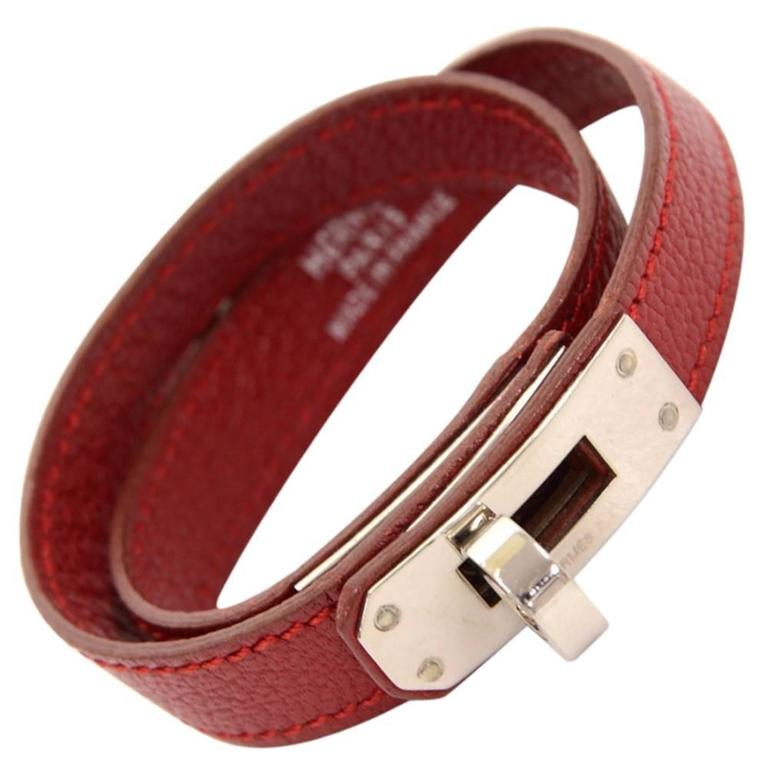 Hermes Kelly Burgundy Leather x Silver Tone Bracelet For Sale