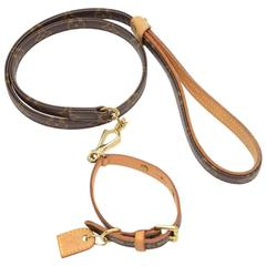 Louis Vuitton Laisse Baxter MM + Collier Baxter PM Monogram Canvas Dog Leash Set